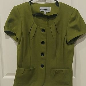 Chartreuse And Black Skirt Suit